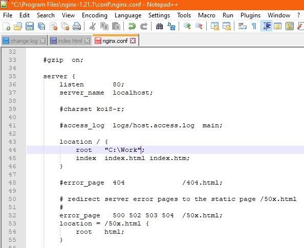 Nginx Windows Location Root Changed