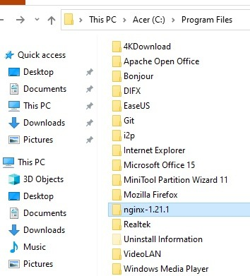 Nginx Windows Program Files