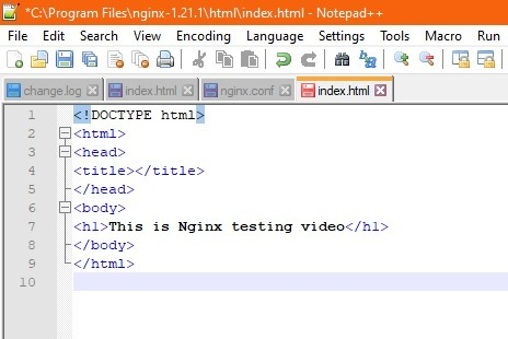 Nginx Windows Text Changed Index.html