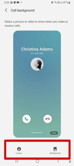 يقوم Samsung One Ui 3 بتخصيص تخطيط خلفية المكالمة
