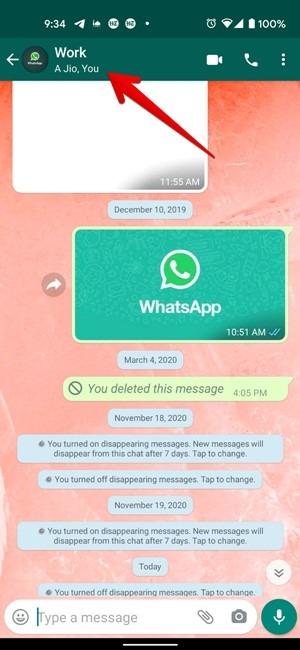 معلومات مجموعة Whatsapp