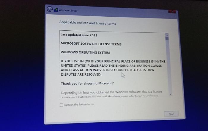 اتفاقية ترخيص تثبيت Windows11 المتسربة 1