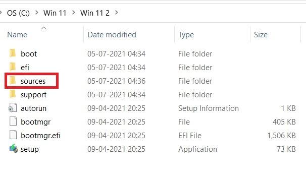 Windows11 التثبيت المتسرب مجلد مصادر Windows10