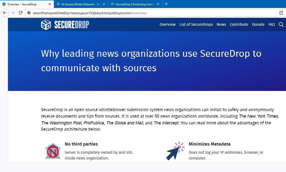 Dark Web Google Securedrop Whistleblower
