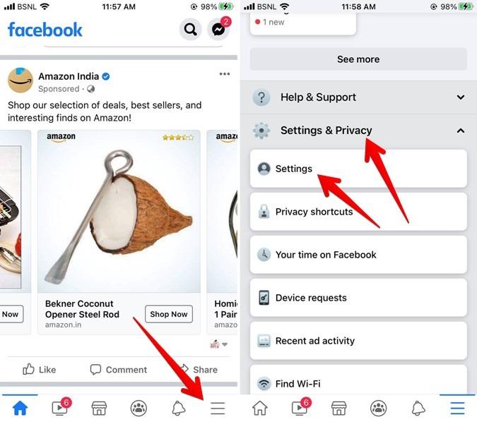 Facebook Iphone Settings