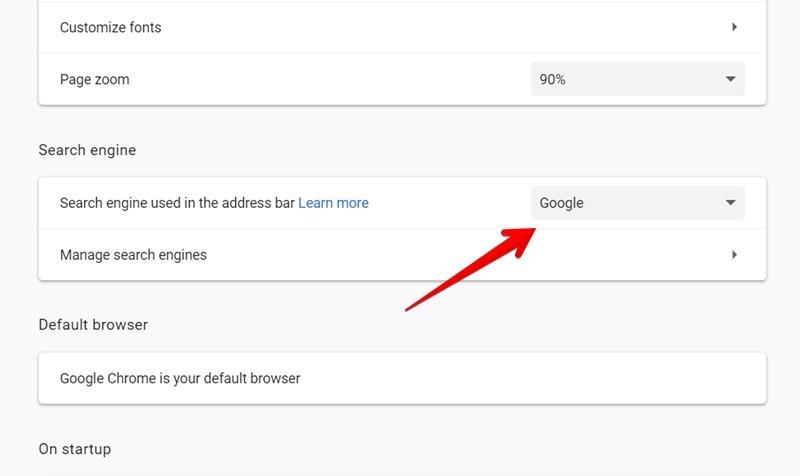 Google Chrome Change Search Engine