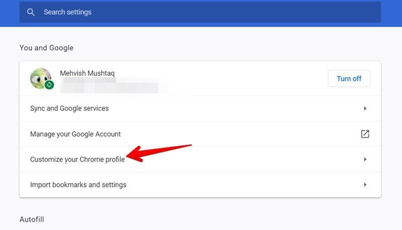 Google Chrome Customize Profile
