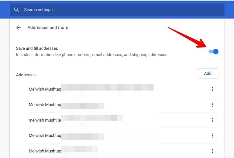 Google Chrome Disable Autofill Address