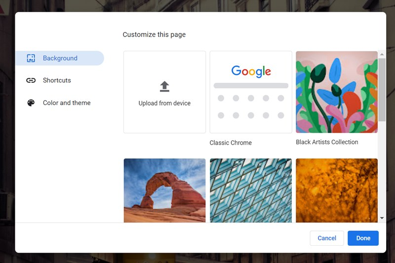 Google Chrome Homepage Background