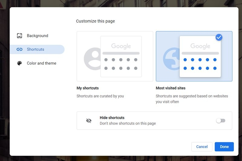 Google Chrome Homepage Shortcuts