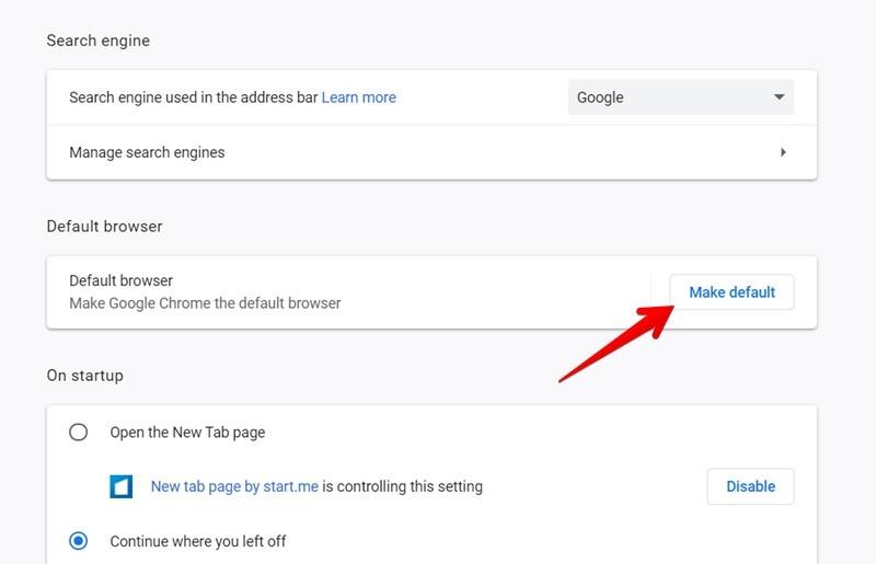 Google Chrome Make Default Browser