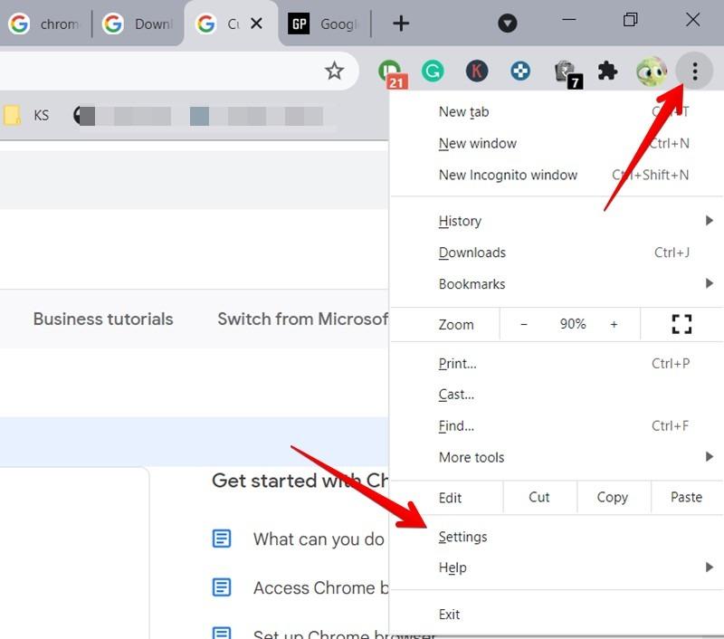 Google Chrome Open Settings