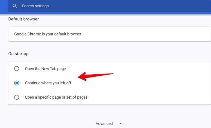 Google Chrome Startup Page