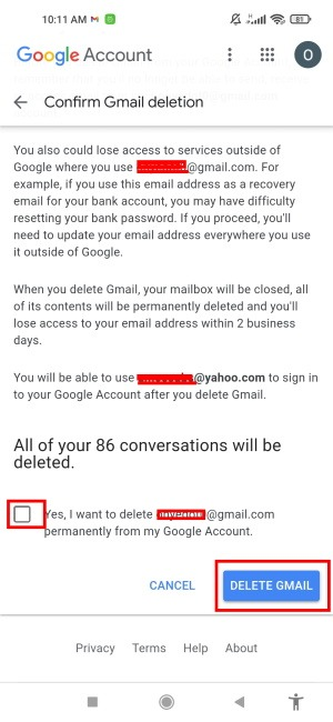 Delete Gmail Tap Delete Gmail