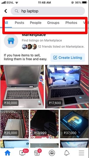 Facebook Search Filter Mobile