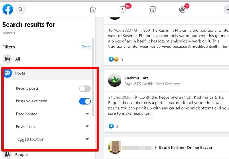 Facebook Search Profile Filter