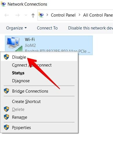 Wi Fi Adapter Disable